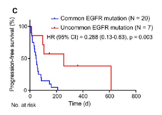 (図) EGFR変異タイプ別のICI無増悪生存期間(N=27)